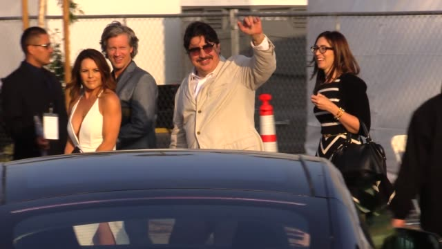 alfred molina exchanges greetings with fans while departing the 2015 spirit awards in santa monica in celebrity sightings in los angeles - alfred molina stock videos & royalty-free footage