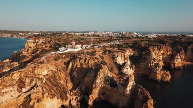 algarve, aerial view of coastline and ocean. portugal - algarve stock-videos und b-roll-filmmaterial