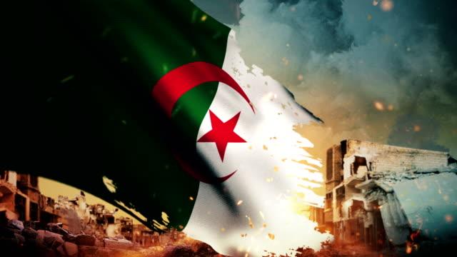 4K Algeria Flag - Crisis / War / Fire (Loop)