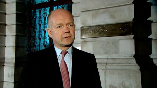 further british workers feared dead england london william hague mp interview sot they've certainly worked hard to try and save the lives of people... - アルジェリア人質事件点の映像素材/bロール