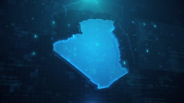 vidéos et rushes de carte d'algérie avec des régions sur fond animé bleu 4k uhd - algerie