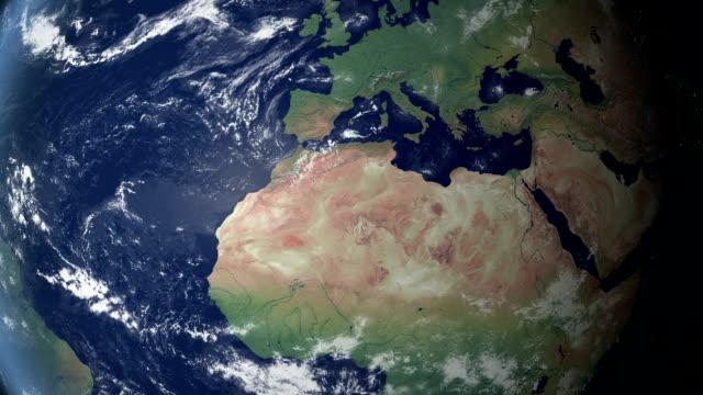 vidéos et rushes de algérie touches après zoom de la terre (avec alpha) - zoom