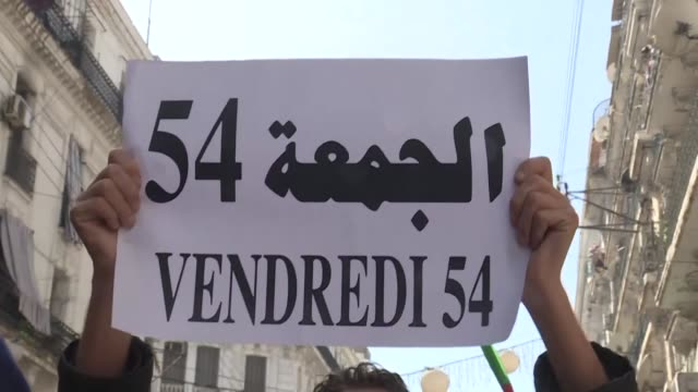 algerian demonstrators chant slogans during a demonstration in the capital algiers for the 54st consecutive friday - friday stock videos & royalty-free footage