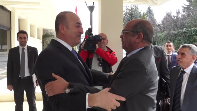 Algerian Foreign Minister Abdelkader Messahel meets with Turkish Foreign Minister Mevlut Cavusoglu in Ankara Turkey on February 22 2018