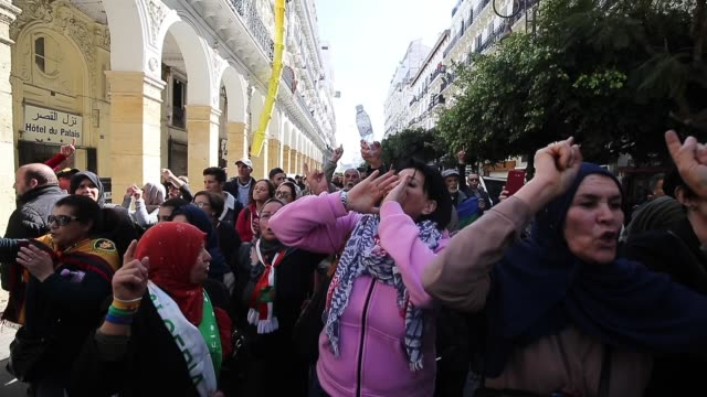 algerian women participate in a march to celebrate international women's day in algiers algeria 08 march 2020 international women's day is celebrated... - gender equality stock videos & royalty-free footage