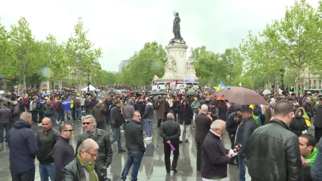 algerians and french people of algerian origin come together in paris for the tenth consecutive week of protests against the government to denounce... - removing stock videos & royalty-free footage