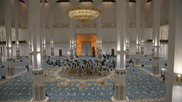 algeria's grand mosque, the world's third-biggest and africa's largest, hosts its first public prayers, a year and a half after construction was... - mosque stock videos & royalty-free footage