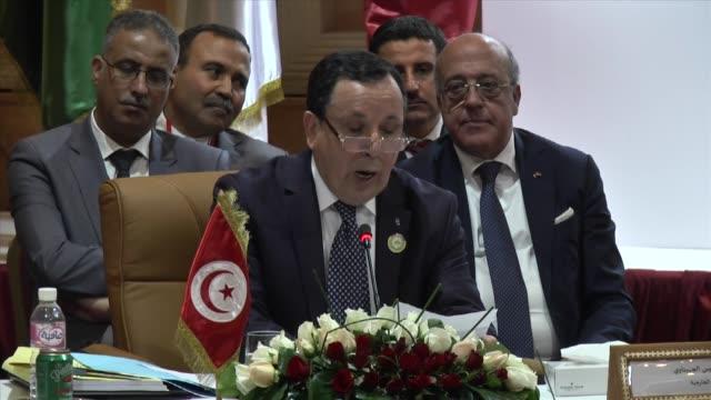 Algeria's Minister Delegate for Maghreb and African Affairs Abdelkader Messahel Secretary General of Arab Maghreb Union Habib Ben Yahya Tunisian...