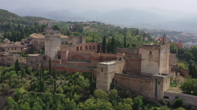 alhambra palace and granada cityscape / granada, spain - cumulus stock videos & royalty-free footage