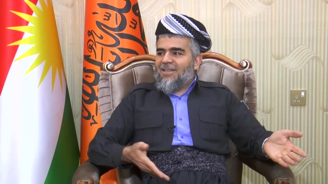 ali bapir, leader of the kurdistan islamic group speaks to journalist about latest political development in the region in arbil, iraq on march 09,... - shi'ite islam stock videos & royalty-free footage
