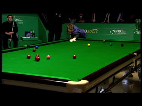 Ali Carter makes good shot to pot red into corner pocket World Snooker Championship Final The Crucible 04 May 2008