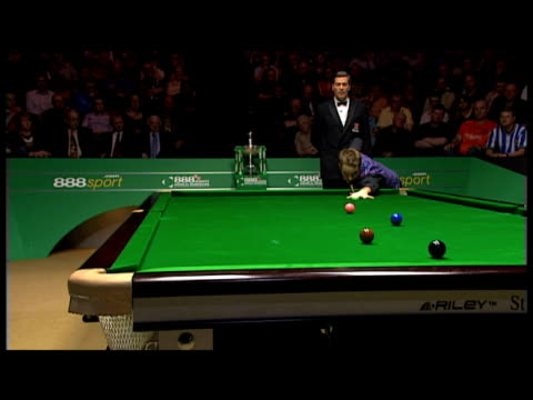 ali carter pots brown into corner pocket world snooker championship final the crucible 04 may 2008 - pool cue sport stock videos & royalty-free footage