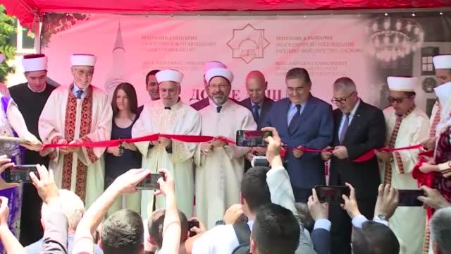 Ali Erbas head of the Turkey's Religious Affairs Directorate and Mustafa Alis Haji head mufti of Bulgaria's Muslim community attend the opening of...