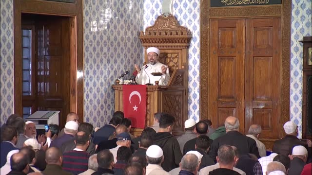 vidéos et rushes de ali erbas head of turkey's religious affairs directorate recites special conquest prayer for the victory of the turkish military's counter terrorism... - turquie