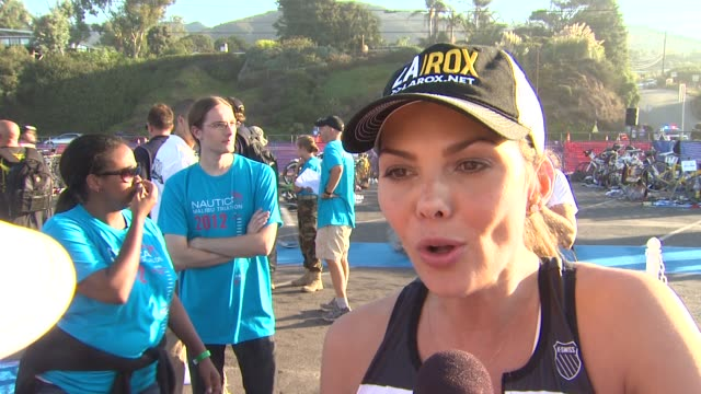 Ali Landry on participating and training tips at 26th Annual Nautica Malibu Triathlon on 9/16/12 in Malibu CA