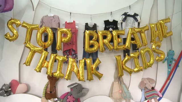 atmosphere ali larter hosts stop breathe think kids app launch at rabbit ladders on may 6 2017 in culver city california - ali larter stock videos & royalty-free footage
