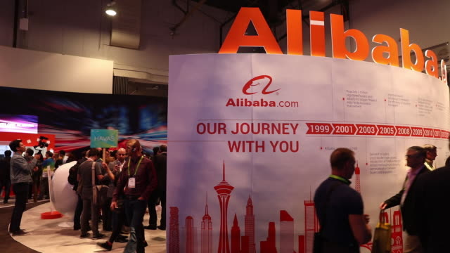 alibaba group holding ltd tmall genie smart home products are displayed at the company's booth during the 2019 consumer electronics show in las vegas... - trade show booth stock videos & royalty-free footage