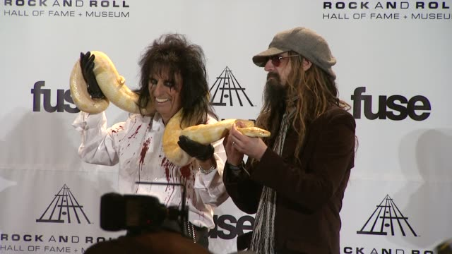 alice cooper and rob zombie at the 26th annual rock and roll hall of fame induction ceremony press room at new york ny - rob zombie stock videos & royalty-free footage