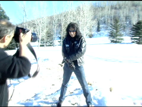 stockvideo's en b-roll-footage met alice cooper at the levi ranch at the sundance film festival at levi ranch in park city, utah on january 23, 2005. - alice cooper