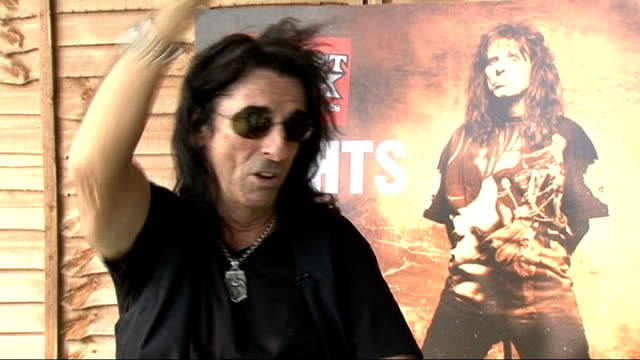 London EXT Alice Cooper interview SOT On the acts that he judged / likes unique acts that are totally different / whether it takes a lot to shock him...