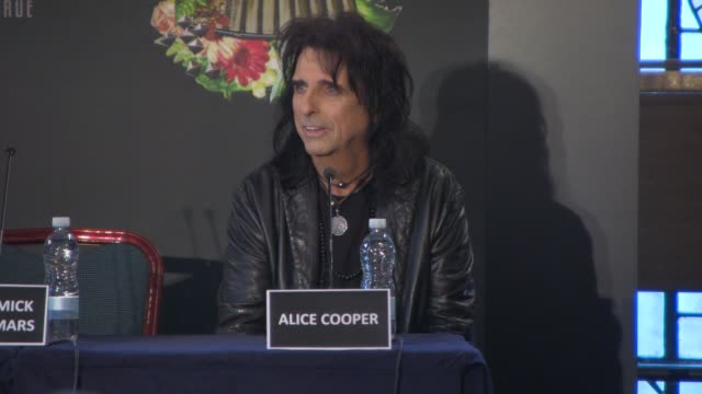 interview alice cooper on his first experience playing in the uk and the campaign by mary whitehouse banning the band touring with motely crue how... - vince neil stock videos and b-roll footage