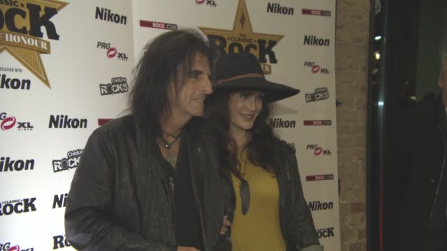 alice cooper, sheryl goddard at classic rock and roll of honour at the roundhouse on november 11, 2015 in london, england. - 光栄点の映像素材/bロール