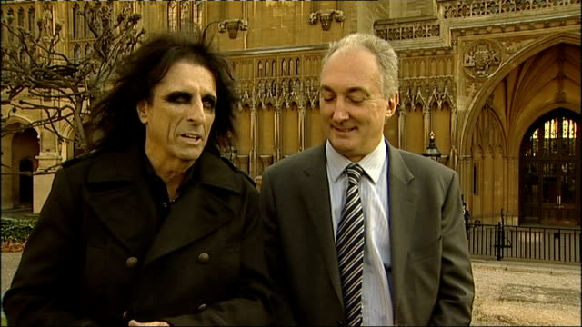 Alice Cooper visits Palace of Westminster to promote 'Rock the House' campaign Cooper posing for photocall with Bercow and Weatherley Alice Cooper...