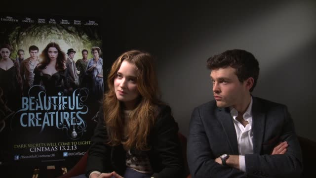 Alice Englert and Alden Ehrenreich on the humour and writing a diary at the Beautiful Creatures Interview in Londo 28th January 2013