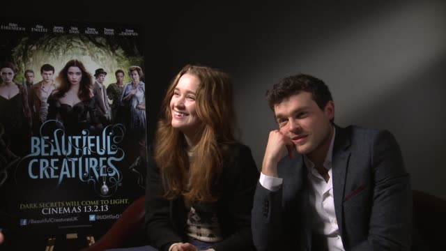 Alice Englert and Alden Ehrenreich on what they were like as teenagers and the fans reaction at the Beautiful Creatures Interview in Londo 28th...