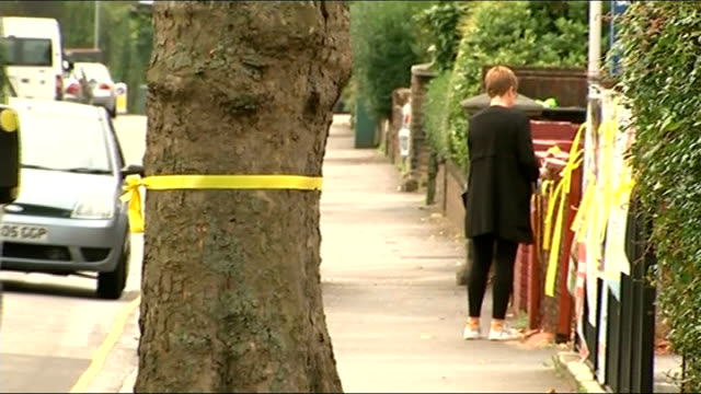 Body found in River Brent ENGLAND London Ealing Hanwell EXT Colin Sutton and Cllr Julian Bell LIVE interview SOT Yellow ribbon around tree and on...