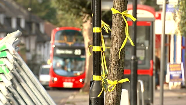 memorial service held cutaways hanwell yellow ribbons to remember alice gross attached to trees people lining road for alice gross's funeral - societal symbol stock videos & royalty-free footage