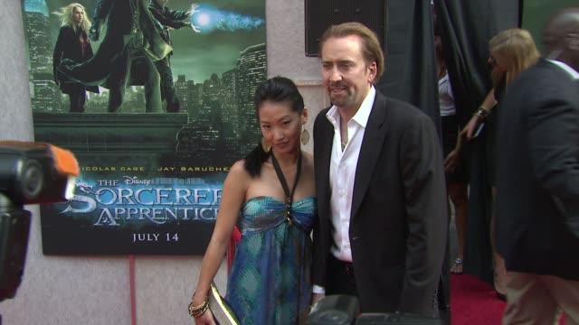 alice kim and nicolas cage at the 'the sorcerer's apprentice' new york premiere - arrivals at new york ny. - nicolas cage stock videos & royalty-free footage