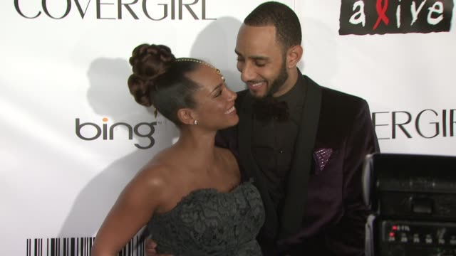 Alicia Keys and Swizz Beatz at the Keep A Child Alive's 7th Annual Black Ball Red Carpet at New York NY