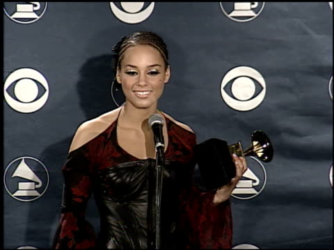 alicia keys at the grammy awards press room on february 25 2002 - grammys stock videos & royalty-free footage