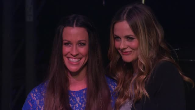 Alicia Silverstone and Alanis Morissette at Alanis Morissette Inducted Into Guitar Center's Historic RockWalk of Fame on 8/21/12 in Hollywood CA