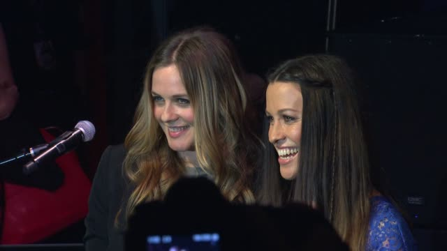 alicia silverstone and alanis morissette at alanis morissette inducted into guitar center's historic rockwalk of fame on 8/21/12 in hollywood, ca. - alanis morissette stock videos & royalty-free footage