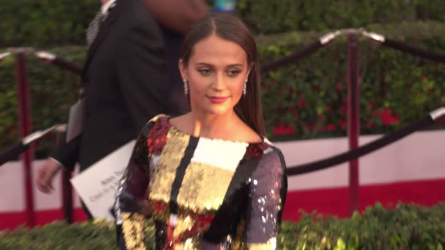 alicia vikander at 22nd annual screen actors guild awards arrivals in los angeles ca - 映画俳優組合点の映像素材/bロール