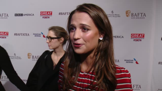INTERVIEW Alicia Vikander on being at the event and on what it means to be recognized for her work at the BAFTA Los Angeles Awards Season Tea Party...