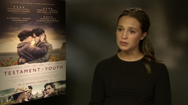 interview alicia vikander on how ww1 changed mind sets how she related to vera brittain at 'testament of youth' interviews at corinthia hotel london... - audio electronics stock videos & royalty-free footage