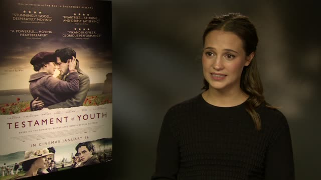 interview alicia vikander the challenges of establishing her career having 4 films out this years at 'testament of youth' interviews at corinthia... - audio electronics stock videos & royalty-free footage