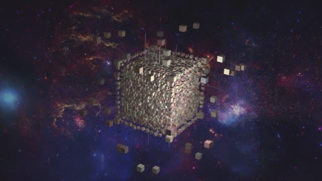 alien cube, borg collective, construction, geometric genius shape, building, 3d cubes, fantasy space - ufo stock videos & royalty-free footage