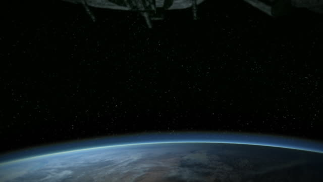 stockvideo's en b-roll-footage met alien ships approach the earth during an invasion. - dichterbij komen
