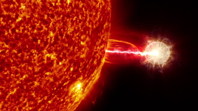 太陽からエネルギーを燃料とするエイリアンの宇宙船。コンセプトアニメーション。 - 太陽フレア点の映像素材/bロール
