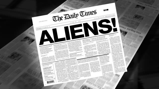 aliens! - newspaper headline (intro + loops) - alien stock videos & royalty-free footage