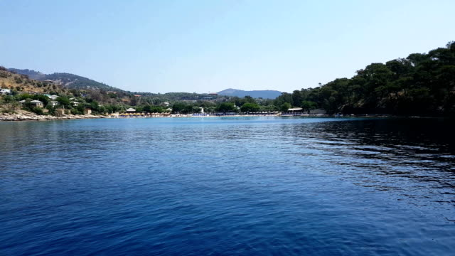 aliki beach from a cruise boat - mediterranean culture stock videos & royalty-free footage