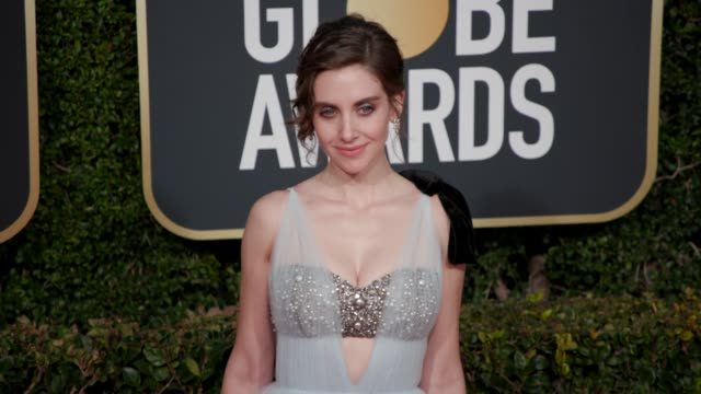 alison brie at the 76th annual golden globe awards at the beverly hilton hotel on january 06, 2019 in beverly hills, california - arrivals- 4k footage - golden globe awards stock videos & royalty-free footage