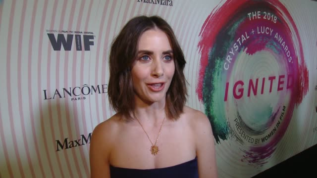INTERVIEW Alison Brie on equal wages and progress of women in film at the Women in Film 2018 Crystal Lucy Awards Presented by Max Mara Lancome and...