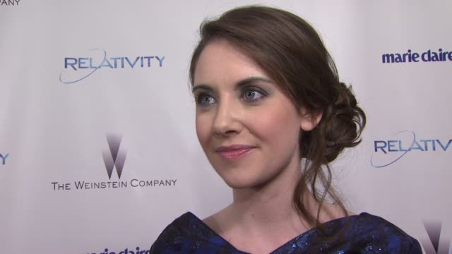 Alison Brie on her look tonight at the The Weinstein Company And Relativity Media's 2011 Golden Globe Awards After Party at Beverly Hills CA