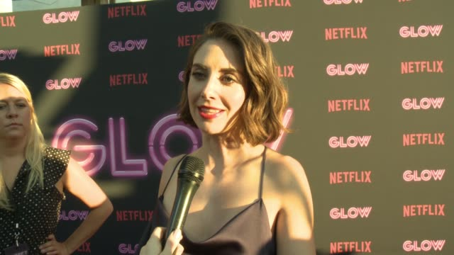 interview alison brie on what glow is about on why female driven shows and female empowerment on tv is resonating with people the sisterhood on and... - cinerama dome hollywood stock videos and b-roll footage