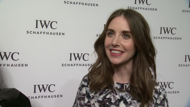 vídeos de stock e filmes b-roll de interview alison brie talks about her latest film and costar jason sudeikis at iwc schaffhausen third annual for the love of cinema dinner during... - festival de cinema tribeca